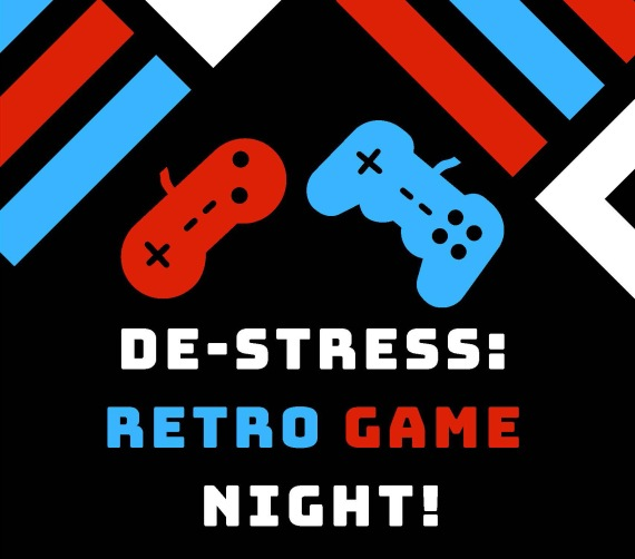 De-Stress: Retro Game Night graphic with game controllers