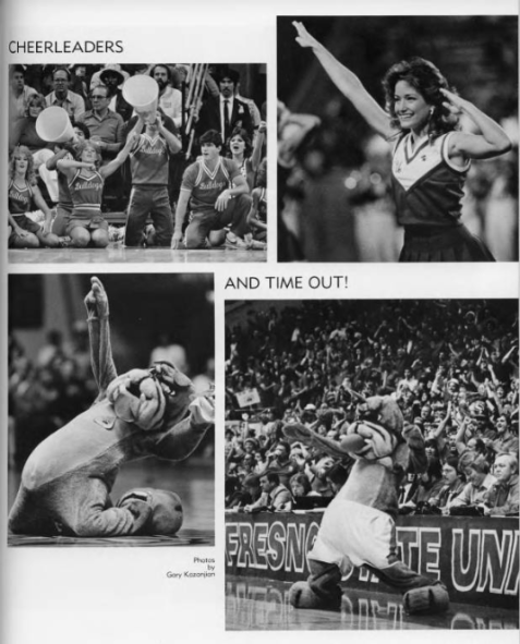 A page from the 1984 Fresno State year book featuring cheerleaders and Time Out