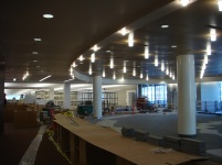The lobby and circulation desk under construction.