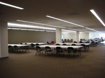 A budgeting issue meant the new furniture shipment was delayed. Temporary seating was brought in for the grand opening of the New Library.