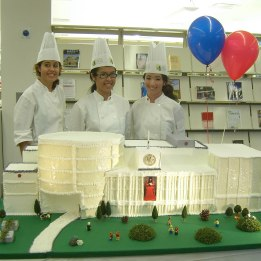 "One year later, the Library celebrates it's ""first birthday"" in the new building with a special cake."