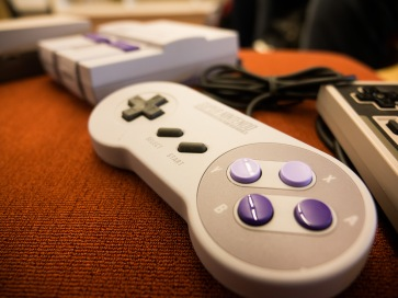 A closeup of retro video game equipment