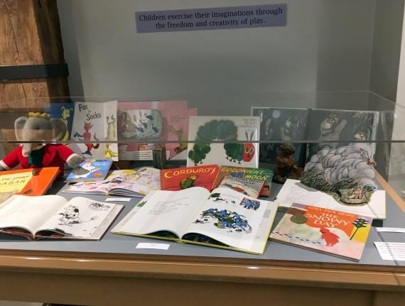An assortment of children's books on display