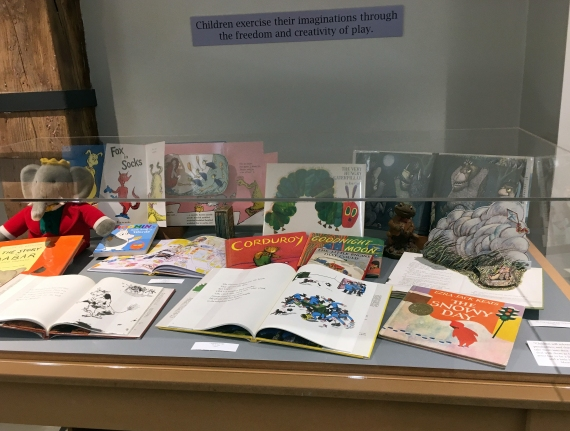 An assortment of children's books on display