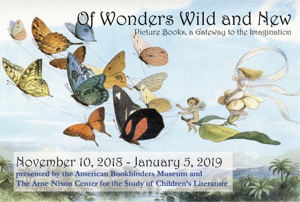 Postcard artwork for Of Wonders Wild and New exhibition features fairies and butterflies. The exhibition runs from November 10, 2018 through January 5, 2019.