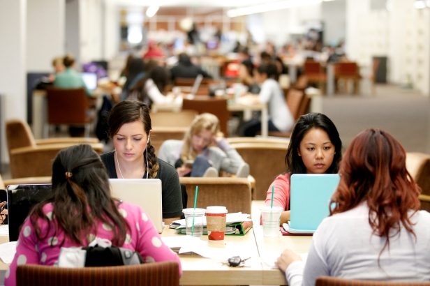 A group of students doing homework in the Madden Library.