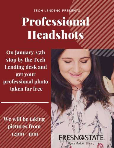 Event flyer promoting professional headshots