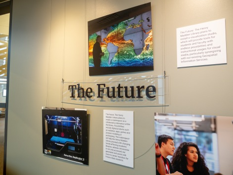The end of the photogenic timeline shows the future of the Library with plans to install a visualization studio and makerspaces.