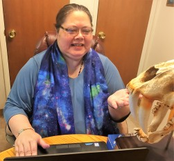 Julie Smilodon cataloging teaching via Zoom