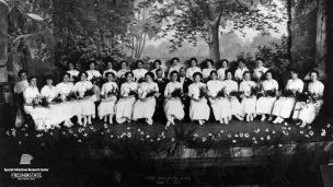 """First Graduating Class, June 7, 1912"" The graduating class consisted of 31 women and 2 men."