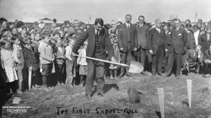 """The First Shove-full"", undated. A large crowd watches the groundbreaking for the old campus."