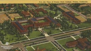"""An Air View of Fresno State College, Fresno, California"", undated. A spectacular view of the old campus which is now Fresno City College."