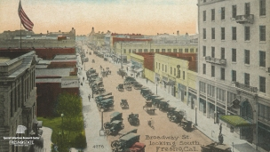 """Broadway St. looking South, Fresno, Cal."", undated. Postcard overseeing a busy downtown Fresno."