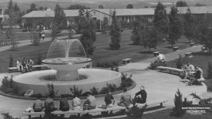 The Memorial Fountain was constructed in 1962 and is at the center of the campus.
