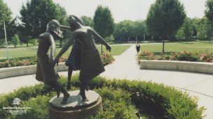 """""""The Three Graces"""" by Fresno sculptor Clement Renzi is a Greek mythology inspired art piece in front of the Music Department. It was donated in 1995 by Helen Smades."""