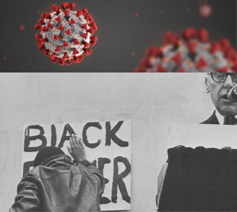 top photo of coronavirus, bottom photo of black man with a black power sign