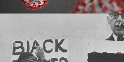 top photo of coronavirus, bottom photo of black man with a black power sign