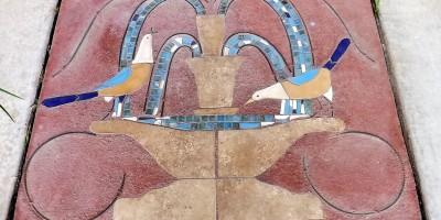 bird fountain mosaic