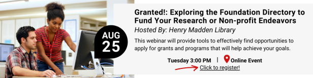 Granted Foundation Directory Webinar Tuesday August 25 at 3 p.m.