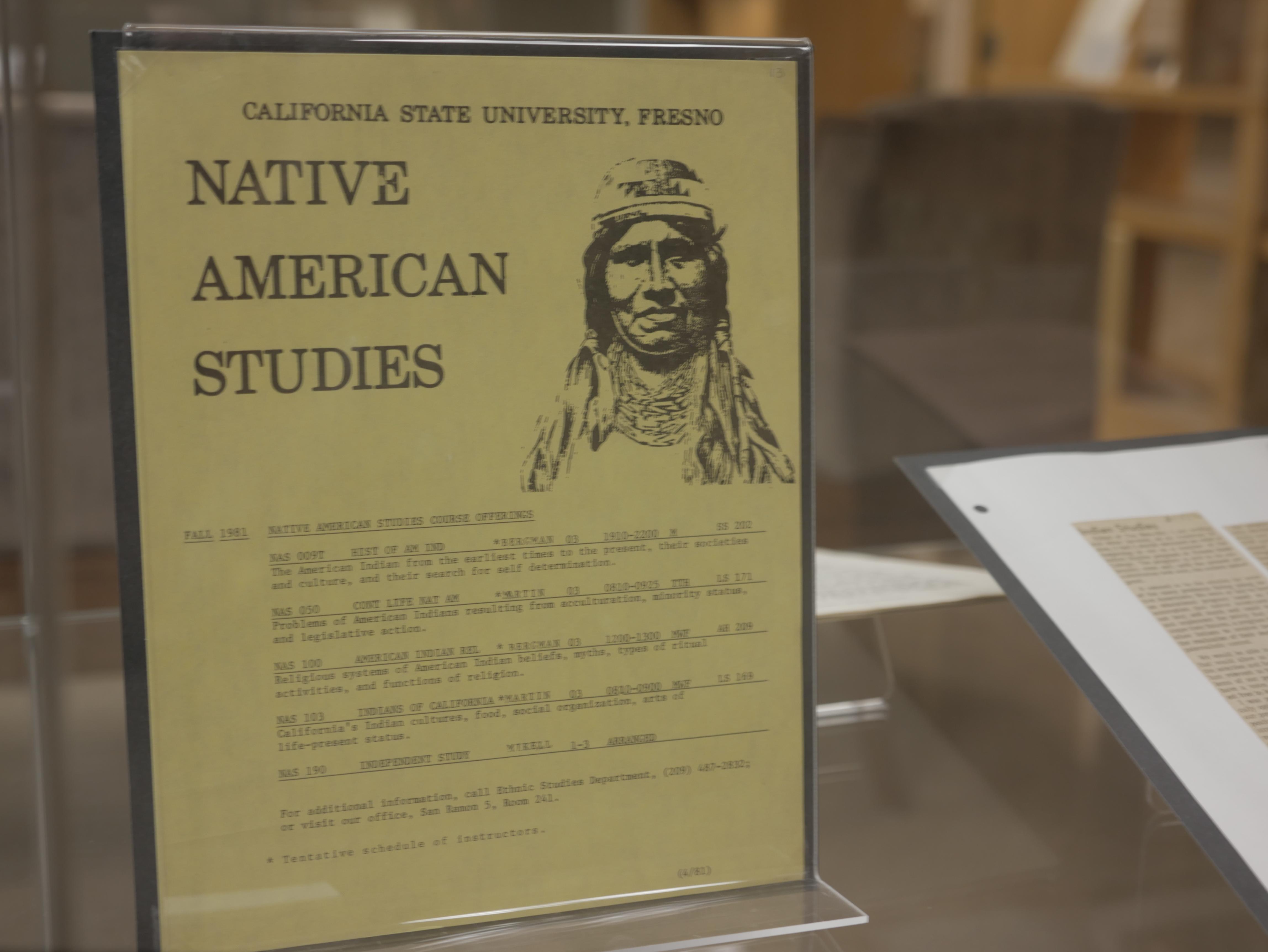 Native American Studies class offerings 1970s